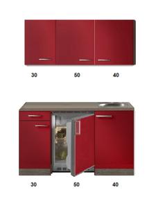 Kitchenette Rood Hoogglans 120cm met bovenkasten HRG-5345
