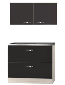 Keukenblok Faro Antraciet 100cm met schuif laden en houten werkblad en bovenkasten U126-9-004