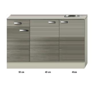 Keukenblok 130cm vigo grijz-rood RAI-43132