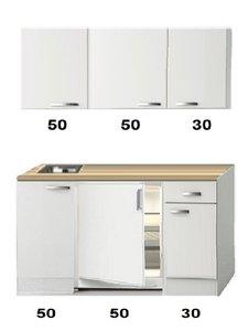 Kitchenette Wit hoogglans 130 CM incl. koelkast HRG-13224