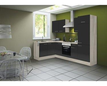Hoek keuken Antraciet hooggland  270 cm incl. koelkast, oven, e-kookplaat en afzuigkap RAI-41002
