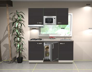 Keukenblok 150 cm Antraciet mat incl gas-kookplaat, afzuigkap, koelkast en magnetron RAI-11028