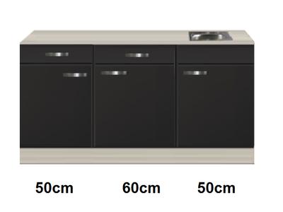 Keukenblok 160 Antraciet incl rvs spoelbak RAI-4492