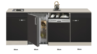 Kitchenette Faro Antraciet met koelkast en vaatwasser 210cm HRG-5385