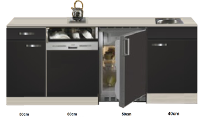 Kitchenette Faro Antraciet met koelkast en vaatwasser 200cm HRG-585