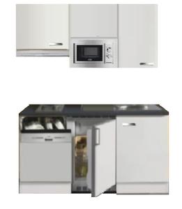 Kitchenette 150cm wit hoogglans met vaatwasser en koelkast en kookplaat en magnetron en afzuigkap RAI-4432