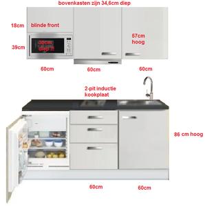 Keukenblok wit hoogglans 180 cm incl koelkast kookplaat for Klein keukenblok