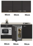 Keukenblok 160 Antraciet incl wandkasten rvs spoelbak en koelkast en magnetron RAI-415_