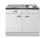 keukenblok 100 wit hoogglans met spoelbak RAI-271_
