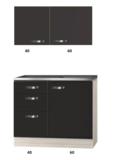 keukenblok 100cm antraciet met drie laden RAI-2201_