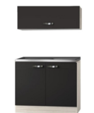 Keukenblok Faro Antraciet  100cm met klap wandkast OPTI-0114_
