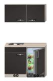 Keukenblok 110cm Antraciet met koelkast en rvs spoelbak RAI-43011_