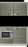 Keukenblok 100cm Grijs-bruin Vigo met wandkasten en magnetron RAI-516_
