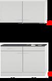 Kleine keuken 120cm x 50cm diep met een la en rvs spoelbak en wandkasten RAI-9912 _