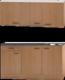 Keukenblok Beuken 150 x 50 diep met spoelbak en bovenkast RAI-449_