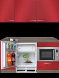 kitchenette 160cm rood incl inbouw koelkast en inbouw combi magnetron RAI-4444_