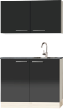 Keukenblok 100cm antraciet glans met wandkasten RAI-4473_