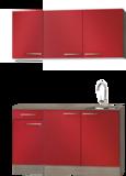 keukenblok Rood hoogglans 130 cm met wandkasten RAI-932_