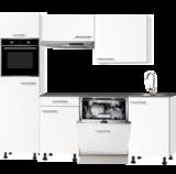 keukenblok 210cm wit mat met stelpoten en inbouw apparatuur RAI-3014._