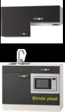 Kitchenette Vigo grijs-bruin 120cm met onderbouw magnetron en afzuigkap OPTI-0209_