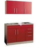 Kitchenette 120cm incl. rvs spoelbak + electrische kookplaat + bovenkasten_