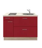 Keukenblok 130 rood hoogglans met kramisch kookplaat en rvs spoelbak_