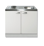 Keukenblok Lagos wit 100cm met twee deuren incl e-kookplaat  RAI-1201_