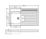 RVS aanrechtblad opleg 100cm x 60cm RAI-385_