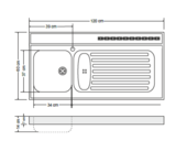 RVS aanrechtblad opleg 120cm x 60cm RAI-386_