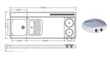 RVS aanrechtblad opleg 150cm x 60cm met 2-pit Keramische kookplaat RAI-253_