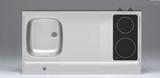 RVS aanrechtblad opleg 100cm x 60cm met 2-pit Keramische kookplaat RAI-2551_