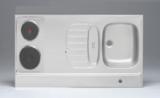 RVS aanrechtblad opleg 90cm x 60cm met 2-pit elektrische kookplaat RAI-284_
