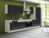 Keuken 280 cm antraciet hoogglans incl vaatwasser, keramisch kookplaat met oven en koelkast RAI-51100_