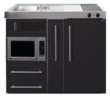MPM 120 A Zwart mat met koelkast, apothekerskast en magnetron RAI-9546_