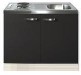 Keukenblok Faro Antraciet 100cm met twee deuren incl e-kookplaat RAI-1205_