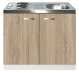 Keukenblok Padua houtnerf 100cm met twee deuren incl e-kookplaat RAI-1215_