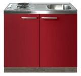 Keukenblok Rood hoogglans 100cm met twee deuren incl e-kookplaat RAI-1216_