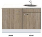 Kitchenette 100cm Padua Houtnerf incl mini inbouw koelkast RAI-2253_