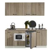 keukenblok 180 met inbouw koelkast, magnetron en 2-pit elektrisch kookplaat_