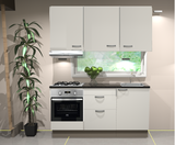Keukenblok 180cm wit hoogglans incl gas-kookplaat, afzuigkap en combi magnetron RAI-2458 _