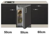 Keukenblok 160 Antraciet incl rvs spoelbak en koelkast RAI-44923_