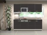 Keukenblok 200 cm Antraciet mat incl gas-kookplaat, afzuigkap, vaatwasser en magnetron RAI-120_