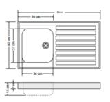RVS aanrechtblad opleg 80cm x 60cm RAI-384_