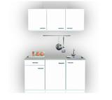 Keukenblok 150cm breed x 50cm diep wit met rvs spoelbak RAI-0010_
