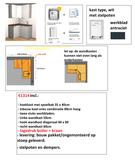 hoek keuken 110cm x 125cm Wit met stelpoten, inbouw koelkast en spoelbak RAI-2002_