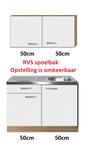 Keukenblok 100cm met wandkasten en rvs blad RAI-4488_