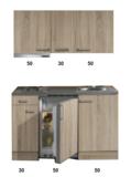kitchenette 130 houtnerf incl koelkast en e-kookplaat en afzuigkap RAI-3321_