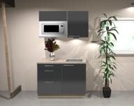 Keukenblok 100 cm Antraciet hoogglans incl magnetron RAI-1347