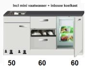 kitchenette 170cm Wit - Lava incl mini vaatwasser en koelkast RAI-446