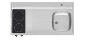 RVS aanrechtblad opleg 90cm x 60cm met 2-pit Keramische kookplaat RAI-285